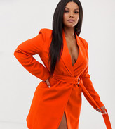 Club L London Plus longline blazer with buckle detail in orange