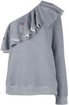 MSGM ruffled one shoulder blouse
