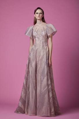 Gemy Maalouf Embroidered Bell Sleeve Gown