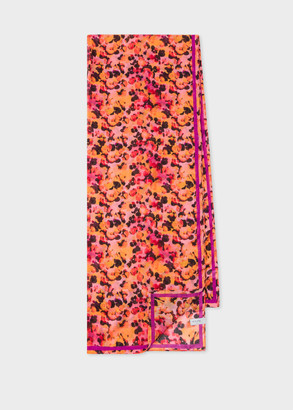 Paul Smith Women's Raspberry 'Blur Leopard' Print Scarf