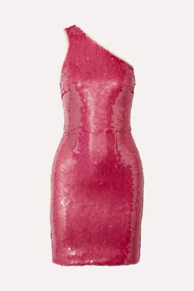 HANEY Serena One-shoulder Sequined Tulle Mini Dress - Pink