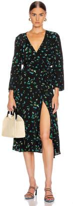 Ganni Printed Crepe Dress in Verdant Green | FWRD