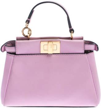 Fendi Light Pink Leather Micro Peekaboo Crossbody Bag