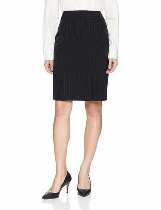 Kasper Women's Petite Pinstripe Stretch Crepe Box Pleat Slim Skirt