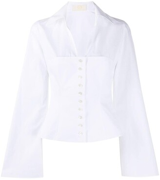 Sara Battaglia V-Neck Buttoned Shirt
