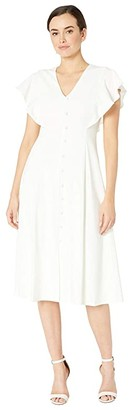 Calvin Klein Flutter Sleeve A-Line Dress w/ Front Button (White) Women's Dress
