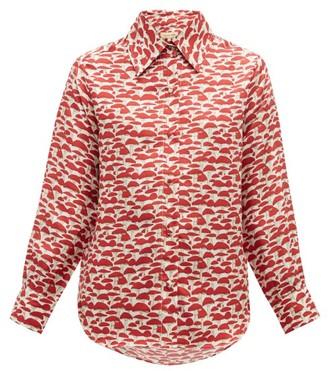 Muzungu Sisters - Fern Mushroom-print Silk-faille Shirt - Red Multi