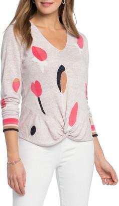 Nic+Zoe Rose Garden Twist Linen Blend Sweater