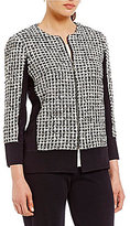Misook Zip Front Tweed Jacket
