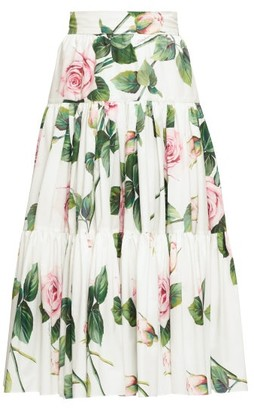 Dolce & Gabbana Tiered Rose-print Cotton-poplin Skirt - Womens - White Multi