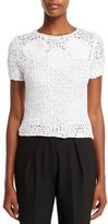 Zac Posen Short-Sleeve Crochet Top, Porcelain