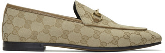 Gucci Beige Canvas GG Jordaan Loafers