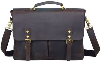 Touri Worn Look Leather Laptop Bag In Dark Brown
