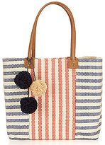 Straw Studios Striped Pom Pom Beach Tote