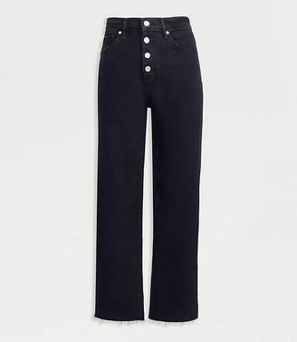 LOFT Petite High Rise Wide Leg Crop Jeans in Washed Black Wash
