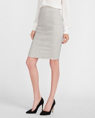 Express High Waisted Textured Zip Side Pencil Skirt
