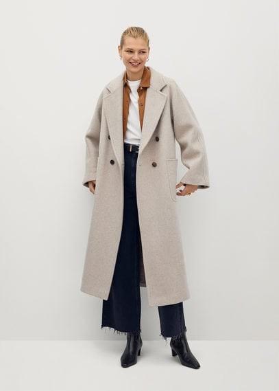 MANGO Pocketed wool coat