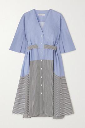 Palmer Harding Palmer/Harding palmer//harding - Manon Paneled Chambray And Striped Cotton-poplin Midi Dress - Light blue