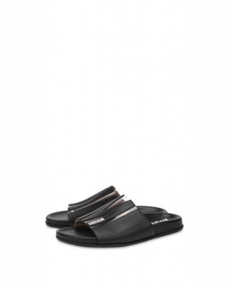 Moschino M Flat Sandals Woman Black Size 35 It - (5 Us)