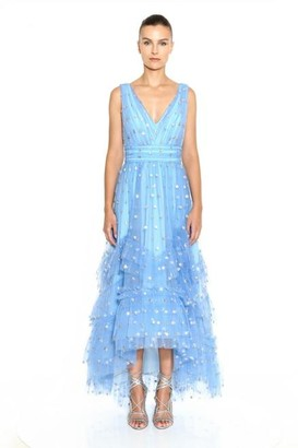 Marchesa Notte Sleeveless V-Neck Sequin Polka Dot Tea-Length Gown