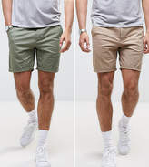 Asos 2 Pack Slim Chino Shorts In Stone & Light Green Save