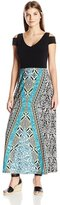 London Times T2253M Cutout Shoulder Print Jersey Dress