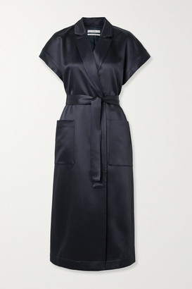 Co Belted Duchesse-satin Wrap Dress - Navy