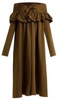 Isa Arfen Knot-front ruffled cotton-poplin dress