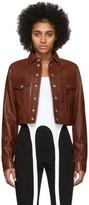 Helmut Lang Brown Leather Fem Littler Trucker Jacket