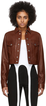 Helmut Lang Brown Leather Fem Littler Trucker Jacket