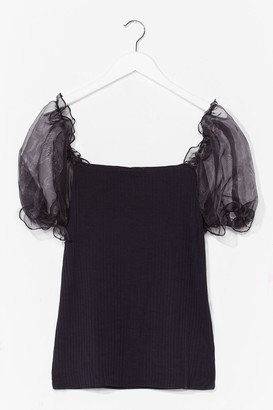 Nasty Gal Catch a Preview Plus Organza Sleeve Top - Black - 22