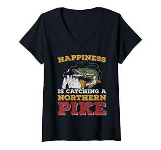 Piké Womens Fishing Shirt Happiness Is Catching a Northern V-Neck T-Shirt