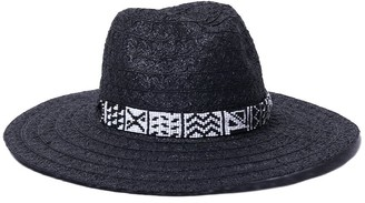 Ale By Alessandra Women's Tanzi Lace Weave Toyo Fedora with Beaded Trim