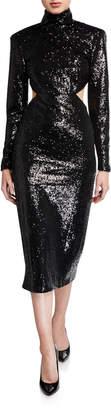 Cinq à Sept Daniela Cutout Sequined High-Neck Dress