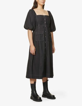 Ganni Square-neck organic-cotton midi dress