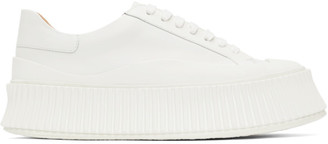 Jil Sander White Leather Platform Sneakers