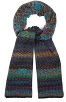 Missoni Chevron-motif ribbed-knit wool scarf