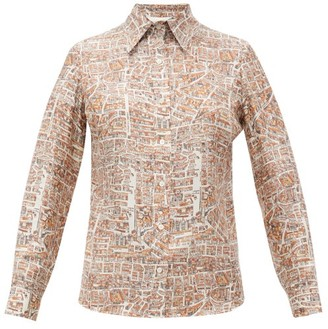 La Prestic Ouiston Joana Carte De Paris-print Silk Shirt - Beige Multi