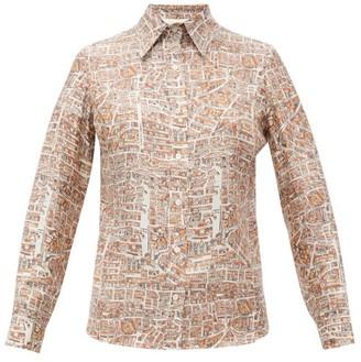 La Prestic Ouiston Joana Carte De Paris-print Silk Shirt - Womens - Beige Multi