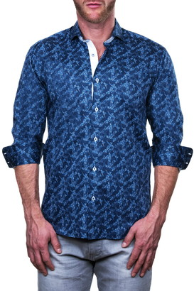 Maceoo Einstein Scattered Abstract Print Shaped Fit Shirt