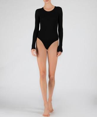 Atm Modal Rib Long Sleeve Bodysuit - Black