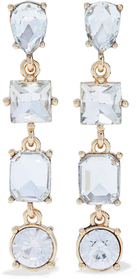 Kenneth Jay Lane 22-karat Gold-plated Crystal Earrings