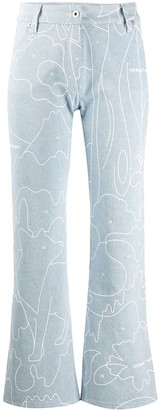 Off-White Graphic-Print Cropped Jeans