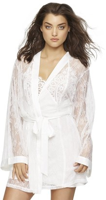 Jezebel Women's Tama Lace Kimono with Satin Trim and Tie