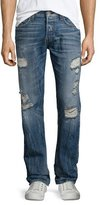 True Religion Geno Distressed Straight-Leg Jeans, Blue Misfit