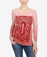 Lucky Brand Three-Quarter-Sleeve Graphic T-Shirt