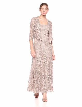 Alex Evenings Women's Petite Long Lace Jacket Dress with Embellished Waist (Regular Sizes)
