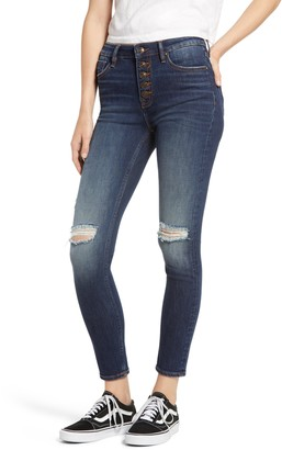 Vigoss Ace Ripped High Waist Button Front Skinny Jeans