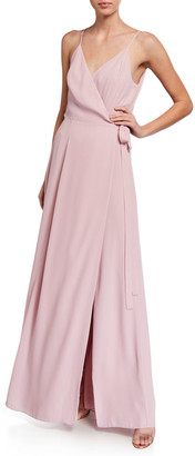 WAYF The Angelina Sleeveless Wrap Gown with Front Slit