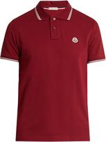 Moncler Striped-edge cotton-piqué polo shirt